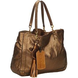 Chloe Brown Metallic Leather Eden Tote Bag 211454