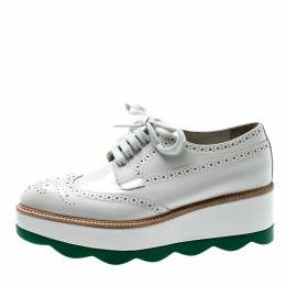 Prada White/Green Brogue Leather Platform Wingtip Lace Up Derby Size 38 213418