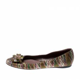 Missoni Multicolor Knit Fabric Embellished Ballet Flats Size 37 212620