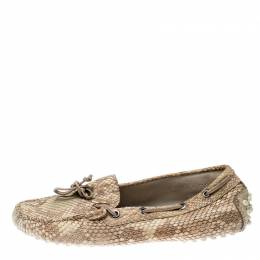 Tod's Beige Python Leather Bow Loafers Size 35.5 212629