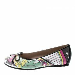 Baldinini Trend Multicolor Printed Leather Bow Ballet Flats Size 36 213447