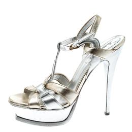 Saint Laurent Metalic Silver/Gold Leather Tribute Platform Sandals Size 38 213448