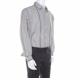 Salvatore Ferragamo Brown Pin Striped Cotton Derby Fit Shirt XXL 213617