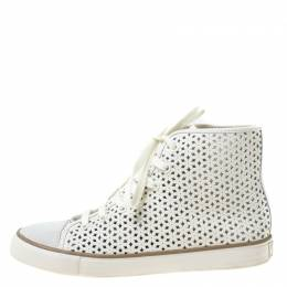 Tory Burch White Flower Perforated Leather High Top Sneakers Size 38.5