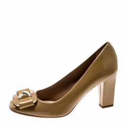 Dior Beige Patent Leather Buckled Square Toe Pumps Size 36 212661