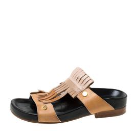 Chloe Beige/Brown Leather 'Erika' Kiltie Trim Flat Sandals Size 37 213480