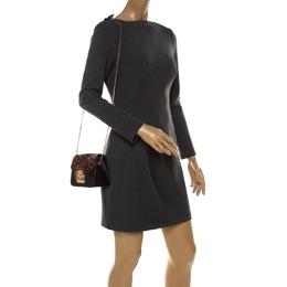 Furla Black/Brown Calfhair and Leather Mini Metropolis Crossbody Bag