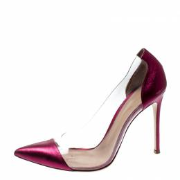 Gianvito Rossi Pink Leather And PVC Plexi Pointed Toe Pumps Size 40 210900