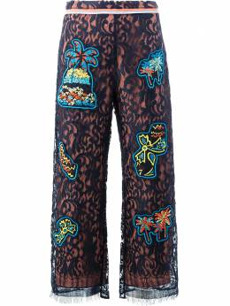 Peter Pilotto lace patch overlay trousers TR06SS17