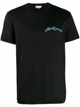 Alexander McQueen футболка с вышитым логотипом 582949QNX01