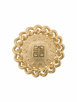 Givenchy Pre-Owned 1980s Vintage Givenchy Logo 18kt Gold Plated Brooch PN010199