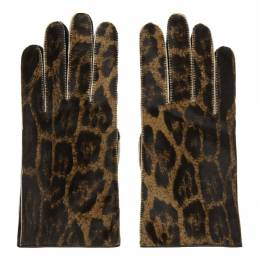 Raf Simons Brown Leather Animal Print Gloves 192-960