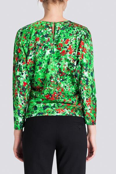 Зеленая блуза с разноцветным принтом Alexander Terekhov 74137718 - 3