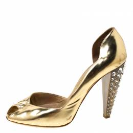 Miu Miu Gold Metallic Leather Crystal Embellished Heel Sandals Size 38.5 215120