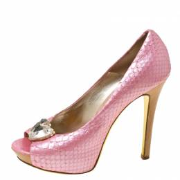 Versace Pink Python Embossed Leather Heart Crystal Embellished Peep Toe Platform Pumps Size 37 215106