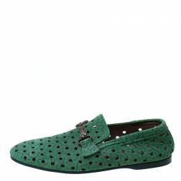 Dolce&Gabbana Green Perforated Nubuck Slip On Loafers Size 42 215141