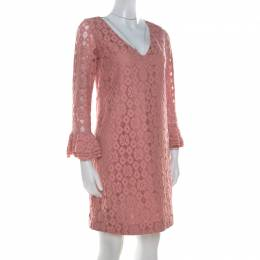 Moschino Cheap and Chic Pink Lace Frilled Sleeve Shift Dress S 209758
