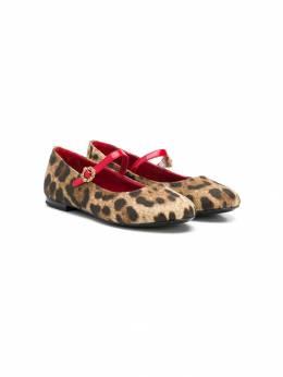 Dolce & Gabbana Kids балетки с леопардовым принтом D10405A4580