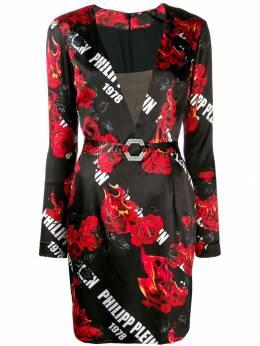 Philipp Plein короткое платье с цветочным принтом F19CWRG1218PTE003N