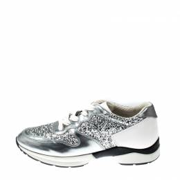 Tod's Metallic Silver Glitter And Leather Sportivo Lace Up Sneakers Size 36 215174