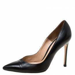 Gianvito Rossi Black Leather Pointed Toe Pumps Size 37.5 215960