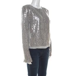 Diane Von Furstenberg Silver Sequin Embellished Tweed Tamali Jacket L 215720