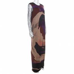 Etro Multicolor Printed Jersey Lace Sleeve Detail Maxi Dress L 215726
