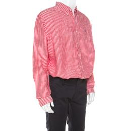 Ralph Lauren Red and White Striped Linen Button Down Custom Fit Shirt XXL 213604