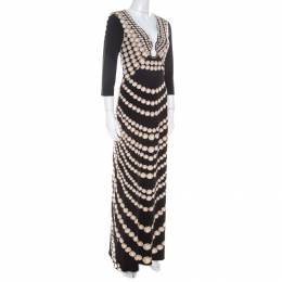 Roberto Cavalli Black Coin Printed Jersey Neck Detail Maxi Dress M 216202