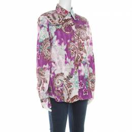 Etro Multicolor Paisley Print Cotton Stretch Button Front Shirt L 215659