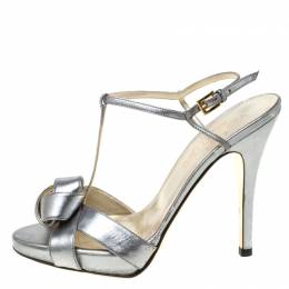 Valentino Metallic Silver Leather Knotted T-Strap Sandals Size 36.5 213353
