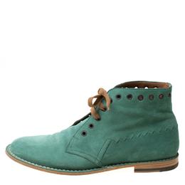 Bottega Veneta Green Suede Lace Up Boots Size 42