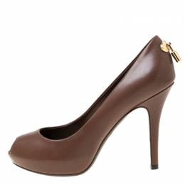 Louis Vuitton Brown Leather Oh Really! Peep Toe Platform Pumps Size 38 216248