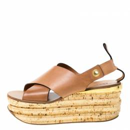 Chloe Brown Leather Clyde Wedge Platform Sandals Size 40 216461
