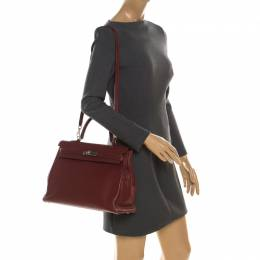 Hermes Bordeaux Togo Leather Palladium Hardware Kelly Retourne 35 Bag 216453
