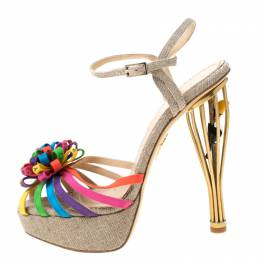 Charlotte Olympia Multicolor Satin And Jute Birds of Paradise Strappy Platform Sandals Size 38