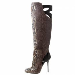 Sergio Rossi Brown Python Leather Knee Length Boots Size 39 216841