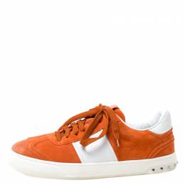 Valentino Orange Suede And White Leather Flycrew Low Top Sneakers Size 40 215964