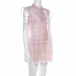 Red Valentino Pale Pink Cotton Ruffled Detail Short Dress M 216635