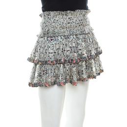 Isabel Marant Multicolor Floral Print Silk Tiered Pleated Mini Skirt S 216174