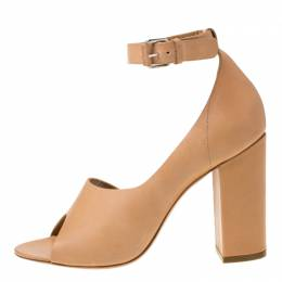 3.1 Phillip Lim Beige Leather Peep Toe Ankle Strap D'orsay Pumps Size 38.5 216190