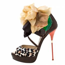Jimmy Choo Two Tone Leopard Print Calf Hair And Leather Mira Flower Detail Ankle Strap Platform Sandals Size 40