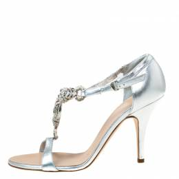 Giuseppe Zanotti Design Metallic Silver Leather Crystal Embellished Open Toe Sandals Size 37.5 216204