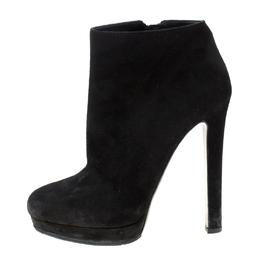 Alexander McQueen Black Suede Platform Ankle Boots Size 38.5 216255