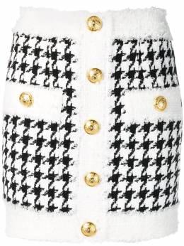 Balmain твидовая юбка мини RF14212C005