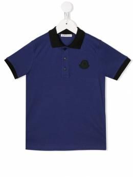 Moncler Kids рубашка-поло с контрастным логотипом 83122058496F