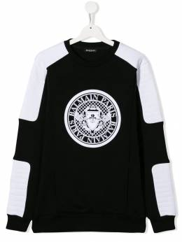 Balmain Kids двухцветная толстовка с логотипом 6L4580LX170930BC