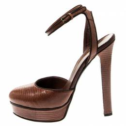 Gucci Brown Lizard Leather Platform Ankle Strap Sandals Size 36.5 217234