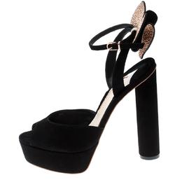 Sophia Webster Black Suede Raye Bow Ankle Strap Platform Sandals Size 38.5 216557