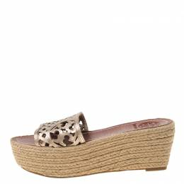 Tory Burch Bronze Leather Thatched Platform Wedge Sandals Size 36.5 215828